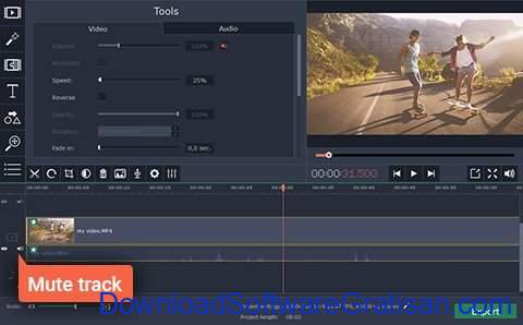 Aplikasi Edit Video Slow Motion PC Gratis Movavi Video Editor - sesuaikan audio