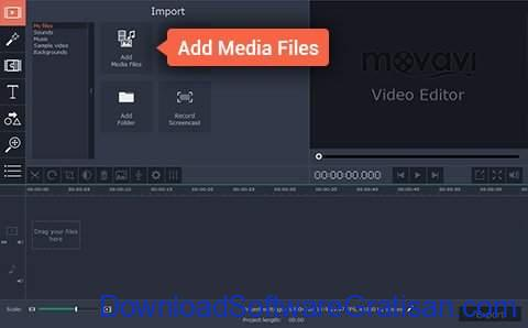 Aplikasi Edit Video Slow Motion PC Gratis Movavi Video Editor - tambahkan video