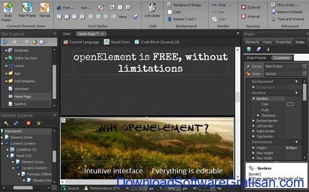 Aplikasi Gratis Terbaik untuk Desain Web openElement