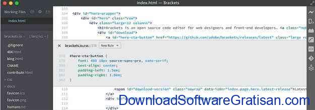 Aplikasi Gratis untuk Web Developer Brackets