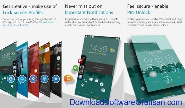 Aplikasi Kunci Layar Gratis Terbaik untuk Android C Locker Free