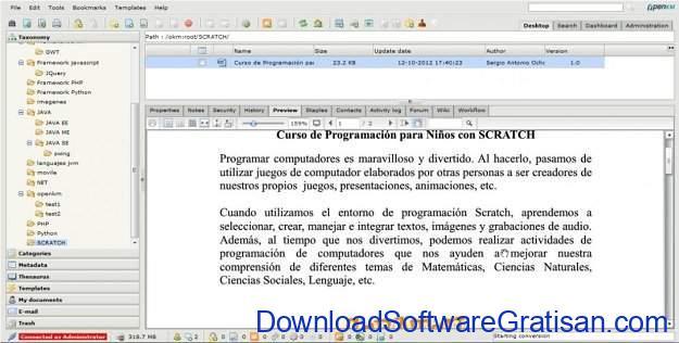 Aplikasi Manajemen Pengetahuan gratis OpenKM