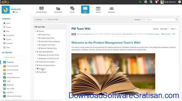 Aplikasi Manajemen Pengetahuan gratis eXo