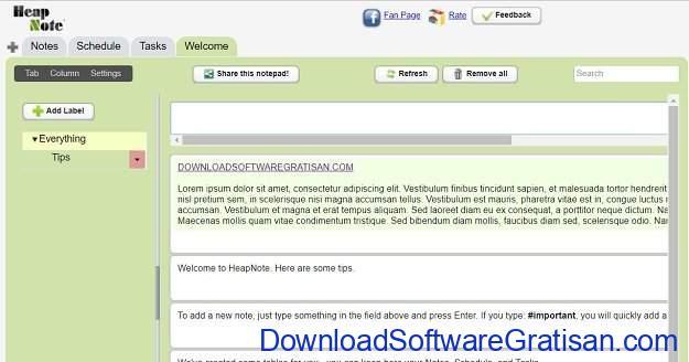 Aplikasi Memo atau Note Online Heapnote