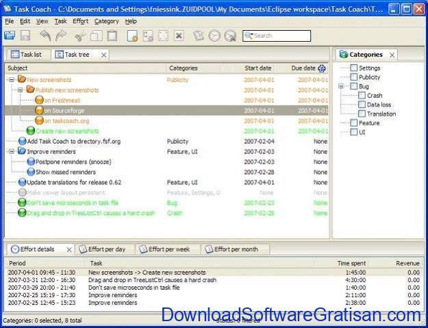 Aplikasi Office Portabel Gratis Terbaik - Task Coach Portable