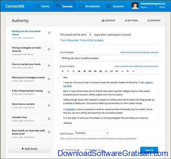 Aplikasi Online untuk Blast Email ConvertKit