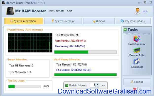 Aplikasi Pembersih RAM PC Gratis Terbaik MZ RAM Booster