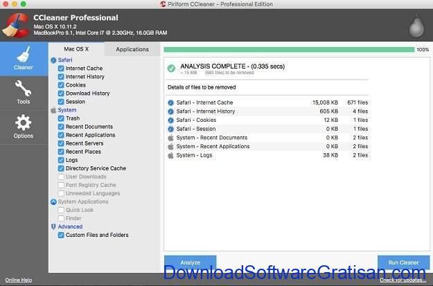 Aplikasi Pembersih Sistem Gratis untuk Mac CCleaner