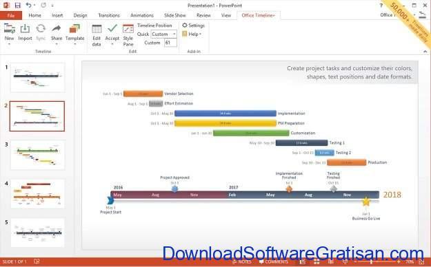 Aplikasi Pembuat Timeline Office Timeline