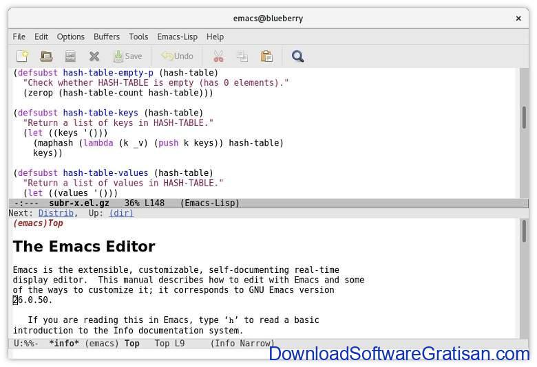 Aplikasi Teks Editor Terbaik PC Laptop - GNU Emacs