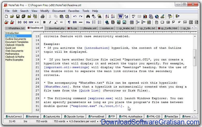 Aplikasi Teks Editor Terbaik PC Laptop - NoteTab