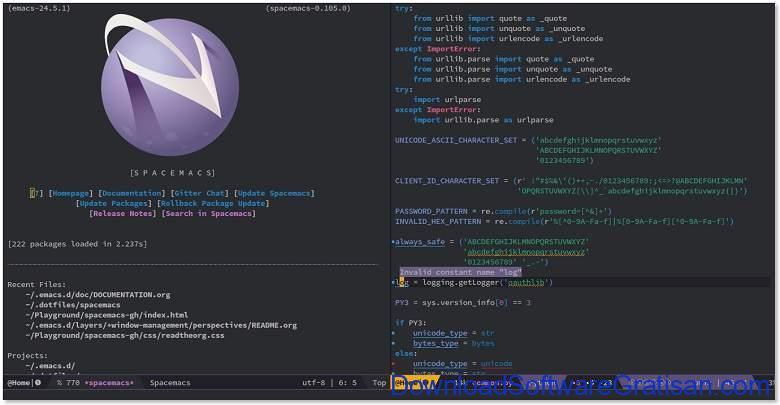 Aplikasi Teks Editor Terbaik PC Laptop - Spacemacs