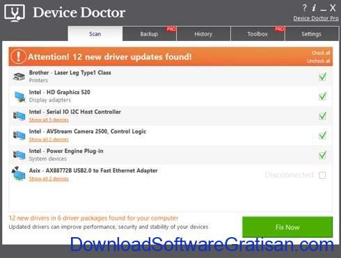 Aplikasi Update Driver PC Laptop Gratis Terbaik - DownloadSoftwareGratisanCom - Device Doctor