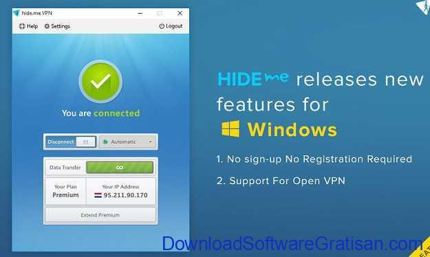 Aplikasi VPN untuk PC Hide.me