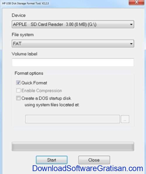 Aplikasi format flashdisk HP USB Disk Storage Format Tool for Windows