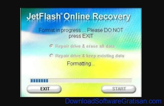 Aplikasi format flashdisk JetFlash Recovery Tool