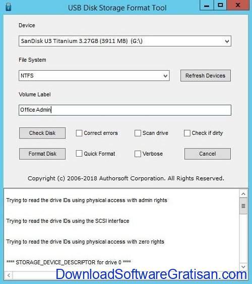 Aplikasi format flashdisk USB Disk Storage Format Tool
