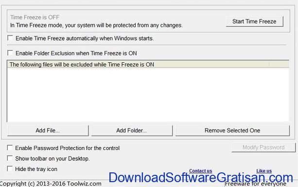 Aplikasi gratis untuk komputer Windows Toolwiz Time Freeze