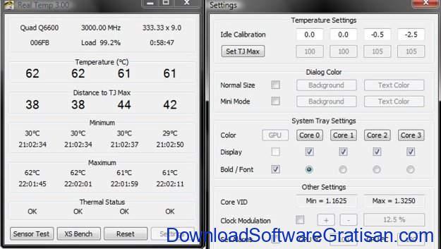 Aplikasi pemantau suhu CPU PC gratis terbaik Real Temp