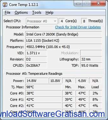Aplikasi pemantau suhu CPU PC gratis terbaik Core Temp