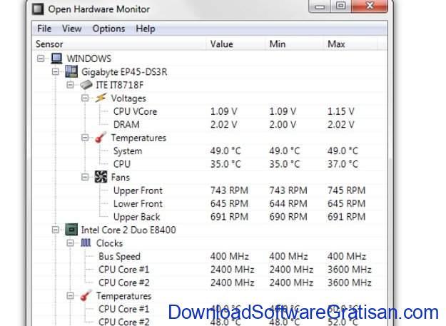Aplikasi pemantau suhu CPU PC gratis terbaik Open Hardware Monitor