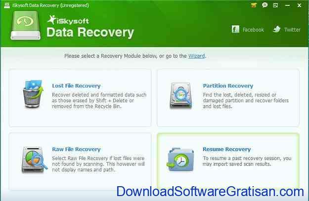 Aplikasi untuk Mengembalikan File yang Terhapus iSkysoft Data Recovery- Main Interface