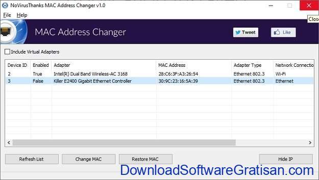Aplikasi untuk Mengganti MAC Address Terbaik - NoVirusThanks MAC Address Changer