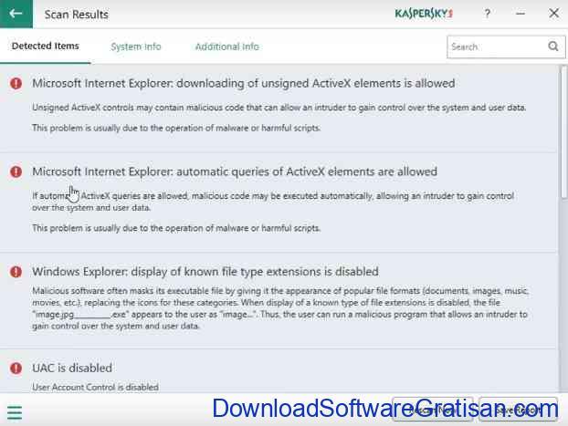 Aplikasi untuk Scan Ancaman & Kelemahan PC Kaspersky System Checker