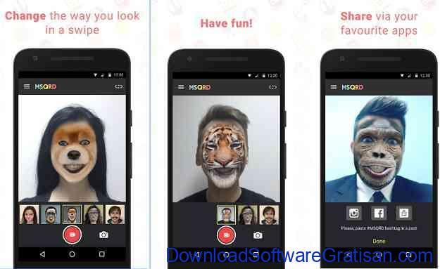Aplikasi video tukar wajah MSQRD