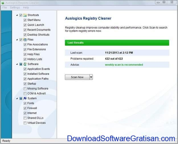 Registry cleaner terbaik Auslogics Registry Cleaner
