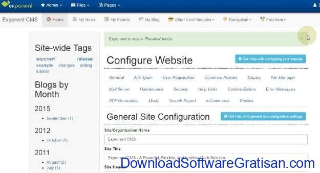CMS Gratis Terbaik Alternatif WordPress Exponent CMS 2