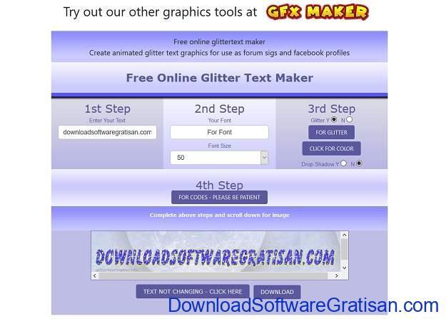 Desain Tulisan Online Gratis Terbaik - Glitter Text Generator