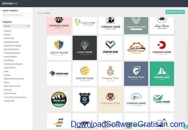 DesignEvo Aplikasi Web untuk Membuat Logo dengan 3000 Template