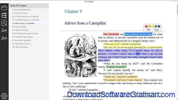 Eve Reader Pembaca EPUB Open Source untuk Windows & Linux