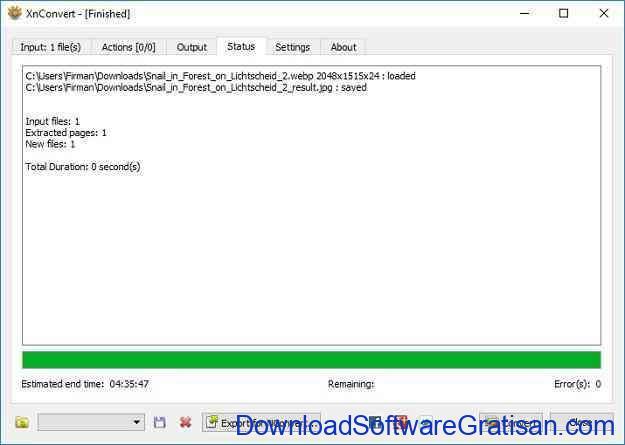 Konversi Foto atau Gambar WEBP ke JPG menggunakan XNConvert - Proses Convert