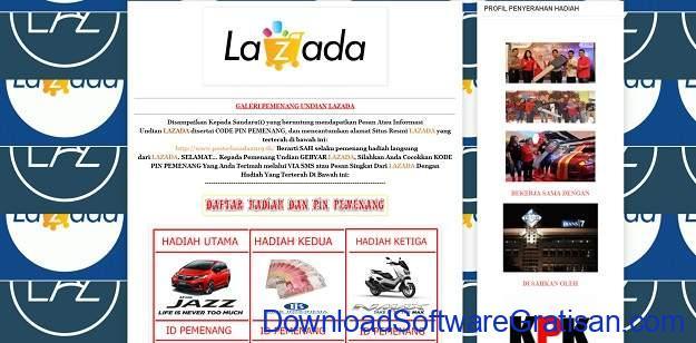Modus Penipuan Pemenang Cek Tunai Lazada Grandprize 2020