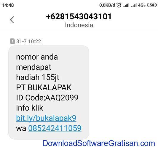 Modus Penipuan Pemenang PT Bukalapak SMS