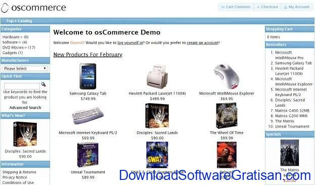 Platform Aplikasi E-commerce Gratis Terbaik osCommerce