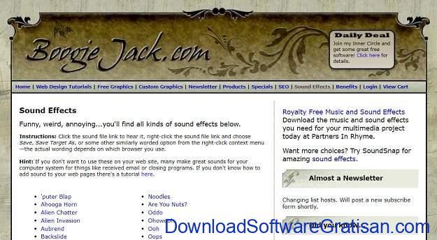 Situs Terbaik untuk Download Efek Suara atau Sound Effects Gratis Boogie Jack