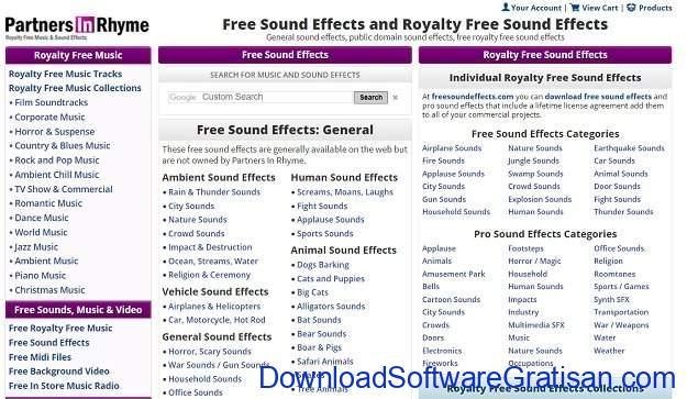 Situs Terbaik untuk Download Efek Suara atau Sound Effects Gratis Partners In Rhyme
