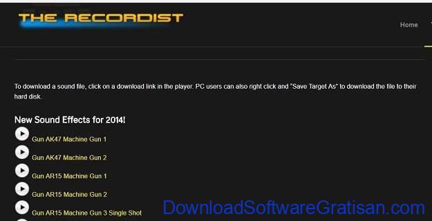 Situs Terbaik untuk Download Efek Suara atau Sound Effects Gratis The Recordist