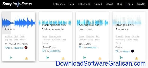 Situs download sampel musik gratis terbaik SampleFocus