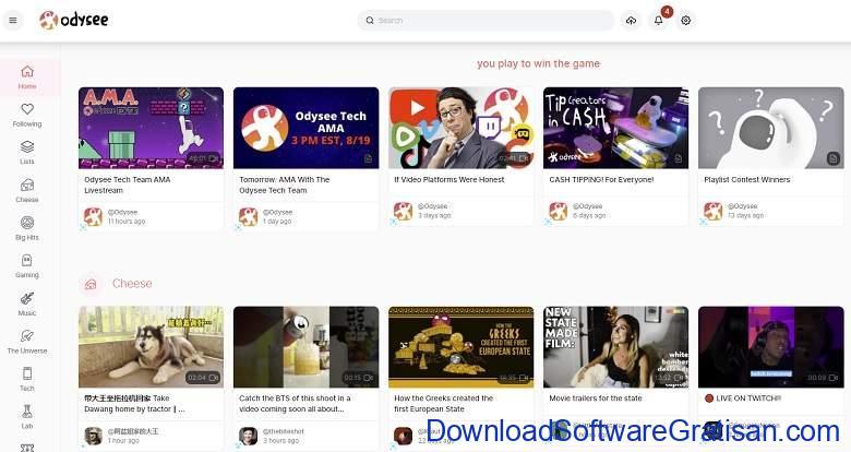 Situs upload video selain Youtube Odysee