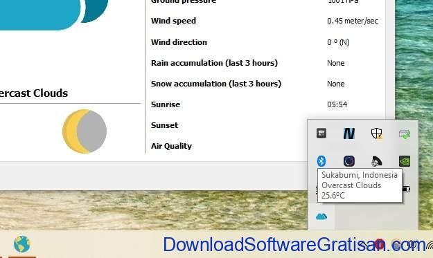 Tray Weather - Aplikasi Gratis Untuk Informasi Status Cuaca Saat Ini SS2