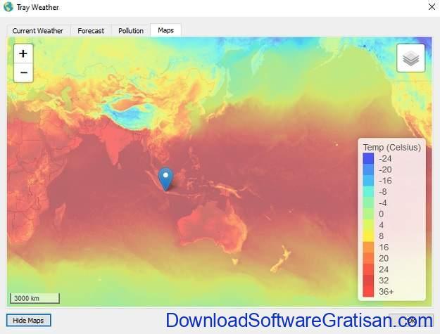 Tray Weather - Aplikasi Gratis Untuk Informasi Status Cuaca Saat Ini SS4