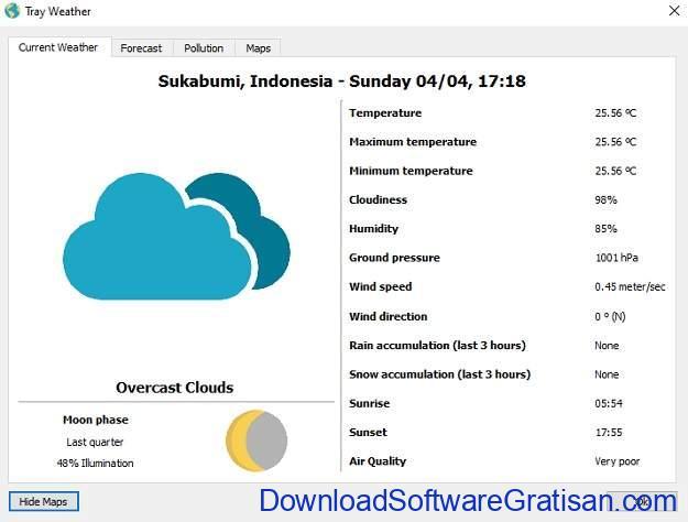 Tray Weather - Aplikasi Gratis Untuk Informasi Status Cuaca Saat Ini