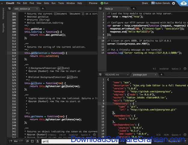 Web editor online terbaik Cloud9