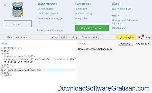 Web editor online terbaik jsBin