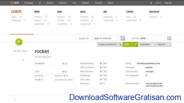 Web hosting control panel gratis alternatif cPanel VestaCP