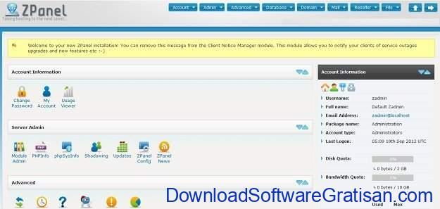 Web hosting control panel gratis alternatif cPanel ZPanel